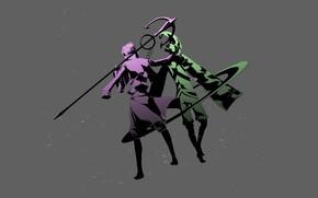 Картинка оружие, парни, серый фон, Sengoku Basara, Эпоха Смут