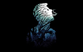 Картинка лес, минимализм, Веном, Venom, симбиот, Эдди Брок