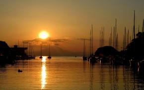Картинка море, солнце, облака, закат, гавань, яхті