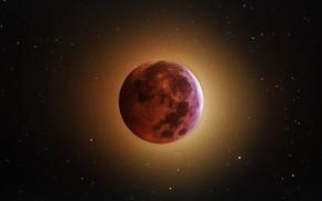 Картинка космос, звезды, свет, луна, затмение