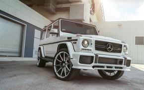 Обои Mercedes, AMG, G63, White, Brick, W463