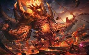 Картинка Огонь, Монстр, Цепь, Стиль, Битва, Цепи, Пламя, Демон, Fantasy, Воины, Fire, Monster, Арт, Art, Flame, …