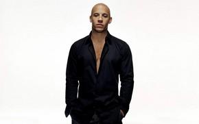 Картинка актёр, Вин Дизель, чёрная рубашка