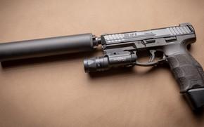 Картинка пистолет, Оружие, gun, pistol, weapon, глушитель, Тактический, Хеклер Кох, Tactical, silencer, VP9, Heckler & Koch, …