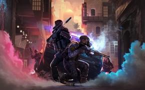 Картинка машина, оружие, улица, дым, автомат, солдаты, противогаз, ружьё, автомобиль, бойцы, снаряжение, fighters, special forces, екипировка, …