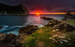 Картинка море, закат, скалы, побережье