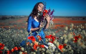 Картинка поле, небо, девушка, солнце, цветы, поза, фото, модель, маки, ромашки, Sergey Shatskov