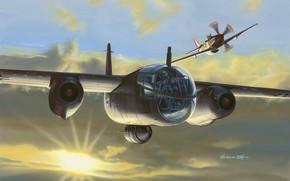 Картинка USAF, Luftwaffe, Arado, P-51D, P-51 Mustang, Поршневой истребитель, Ar 234 Blitz, реактивный бомбардировщик