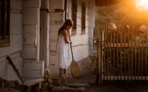 Картинка дом, уборка, девочка