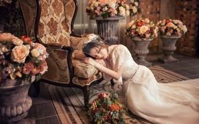 Картинка девушка, цветы, поза, белое, интерьер, кресло, платье, наряд, азиатка, сидит, невеста, фотосессия, свадебное, букеты, закрытые …