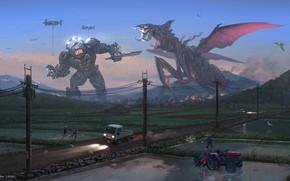 Картинка фантастика, робот, монстр, арт, pacific rim, jaeger