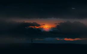Картинка girl, twilight, sky, landscape, Sunset, art, figure, clouds, sun, alone, mood, digital art, artwork, environment, …