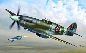 Картинка Supermarine Spitfire, V-1, Фау-1, Spitfire Mk.XIV, оружие возмездия-1