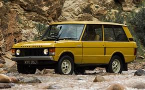 Картинка жёлтый, скалы, Land Rover, Range Rover, 1970, 4x4, SUV, трёхдверный