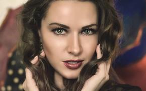 Обои girl, hot, sexy, eyes, smile, beautiful, figure, model, pretty, beauty, lips, face, hair, brunette, pose, ...