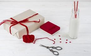 Картинка молоко, подарки, сердечки, wood