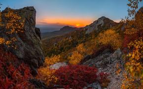 Картинка осень, закат, горы