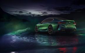 Картинка зима, купе, BMW, сзади, сбоку, 2018, M8 Gran Coupe Concept