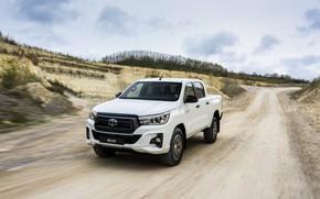 Картинка дорога, белый, движение, Toyota, пикап, Hilux, грунтовка, Special Edition, 2019