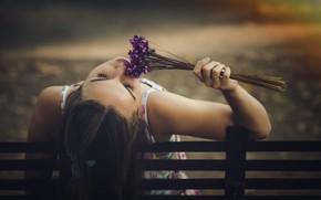 Картинка девушка, цветы, забор