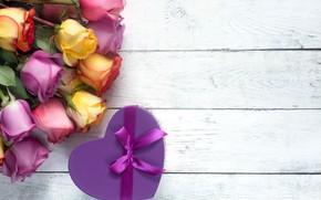 Картинка лента, розы, подарок