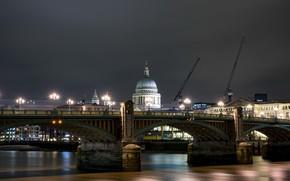 Картинка ночь, мост, город, Лондон
