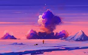 Картинка sky, sunset, art, clouds, mountain, snow, birds, man, artist, digital art, artwork, cold, sled, BisBiswas