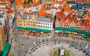 Картинка дома, площадь, Бельгия, флаги, Брюгге, Рыночная площадь