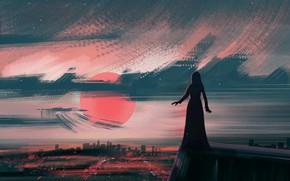 Картинка girl, sunset, background, dusk, photoshop, painting, digital art, illustration, illustrate
