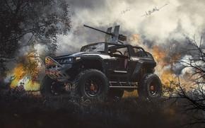Картинка оружие, огонь, транспорт, автомобиль, Тачанка