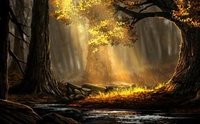Картинка Деревья, Лес, Свет, Art, Forest, Луч, Environments, Rafael Batista da Silva, Золотой лес, The Golden …