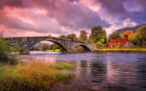 Обои осень, небо, мост, природа, река, дома, Уэльс