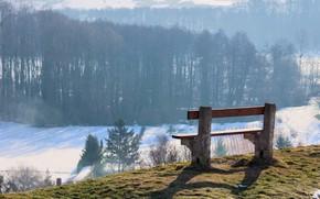 Картинка зима, снег, скамейка, природа, лавочка