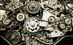 Картинка двигатель, техника, ремень, шестерёнки, шкив
