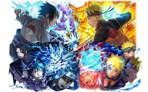 Картинка Наруто, Naruto, персонажи, Саске Учиха, Наруто Узумаки