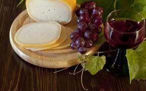 Картинка вино, красное, бокал, сыр, виноград