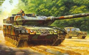 Обои Леопард, Германия, Leopard, немецкий основной боевой танк, 2А6