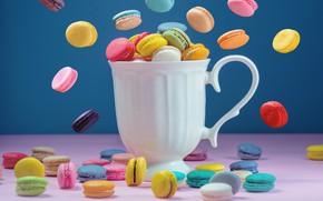 Картинка colorful, кружка, десерт, pink, пирожные, cup, сладкое, sweet, coffee, dessert, macaroon, french, macaron, макаруны