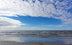 Картинка пляж, Океан, облака.