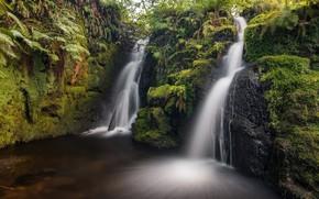Картинка пейзаж, природа, озеро, водопад, красота
