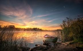 Картинка трава, пейзаж, природа, туман, озеро, лодка, утро