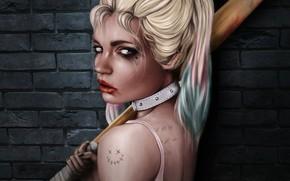 Картинка Девушка, Рисунок, Свет, Лицо, Girl, Бита, Art, Красотка, Харли Квинн, Секси, Персонаж, Harley Quinn, Characters, …