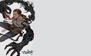 Картинка фон, злость, минимализм, арт, Веном, Venom, Эдди Брок