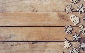 Картинка зима, снежинки, дерево, доски, Новый Год, new year, Christmas, wood, winter, background, snowflakes, decoration