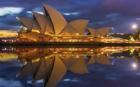Картинка вода, город, отражение, освещение, Австралия, театр, Сидней, архитектура, подстветка
