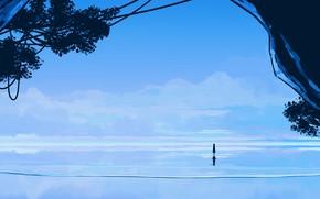 Картинка море, небо, девочка, пещера
