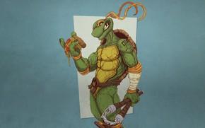 Картинка Минимализм, Стиль, Фон, Черепашки-ниндзя, Art, Style, TMNT, Микки, Микеланджело, Teenage Mutant Ninja Turtles, Michelangelo, Background, …