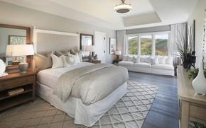 Картинка дизайн, комната, кровать, подушки, окно, зеркала, спальня, светильники