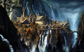 Картинка Природа, Горы, Город, Водопад, Властелин Колец, Пейзаж, Архитектура, Фантастика, Ривенделл, The Lord Of The Rings, …