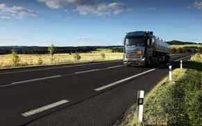 Картинка дорога, синий, Mercedes-Benz, цистерна, седельный тягач, 4x2, полуприцеп
